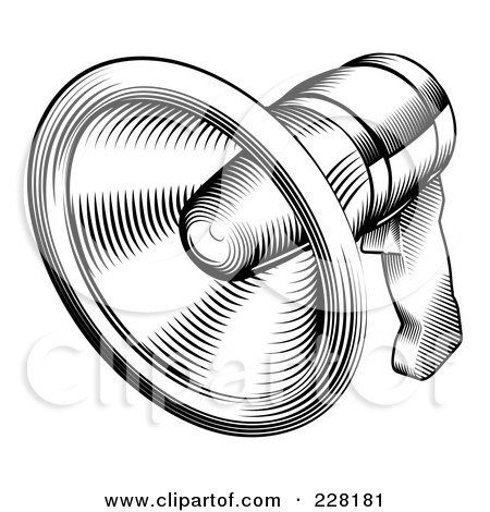 Royalty-Free (RF) Clipart Illustration of a Black And White Retro Megaphone by AtStockIllustration