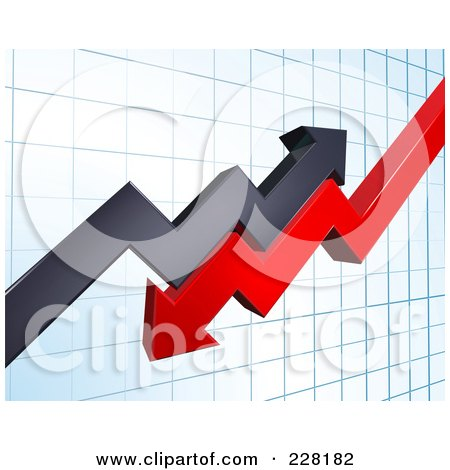 Royalty-Free (RF) Clipart Illustration of a Background Of Profit And Loss Arrows On A Blue Graph by AtStockIllustration