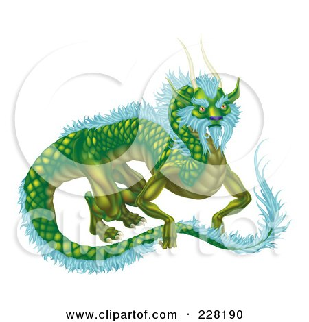 Royalty-Free (RF) Clipart Illustration of a Green Dragon With Icy Blue Feathers by AtStockIllustration