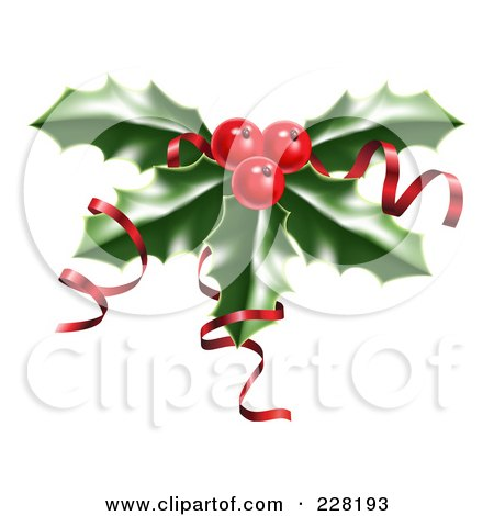 Royalty-Free (RF) Clipart Illustration of Shiny Red Ribbons On Christmas Holly And Berries by AtStockIllustration