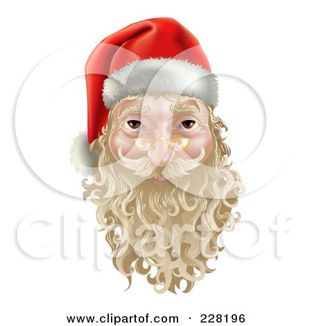 Royalty-Free (RF) Clipart Illustration of a 3d Santa Face Witha Blond Beard And Mustache by AtStockIllustration