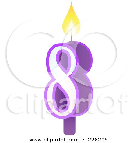Royalty-Free (RF) Clipart Illustration of a Number 8 Birthday Cake Candle by Tonis Pan