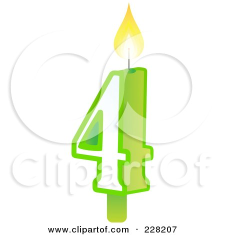 Royalty-Free (RF) Clipart Illustration of a Number 4 Birthday Cake Candle by Tonis Pan