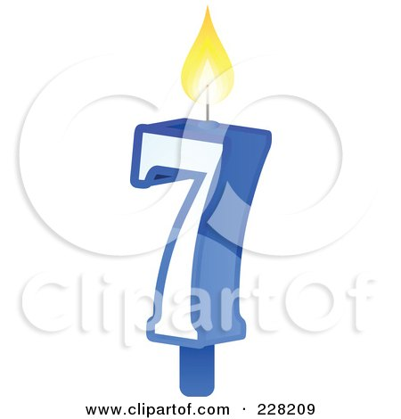 Royalty-Free (RF) Clipart Illustration of a Number 7 Birthday Cake Candle by Tonis Pan