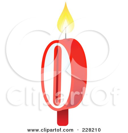 Royalty-Free (RF) Clipart Illustration of a Number 0 Birthday Cake Candle by Tonis Pan