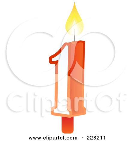 Royalty-Free (RF) Clipart Illustration of a Number 1 Birthday Cake Candle by Tonis Pan