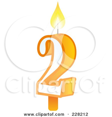 Royalty-Free (RF) Clipart Illustration of a Number 2 Birthday Cake Candle by Tonis Pan