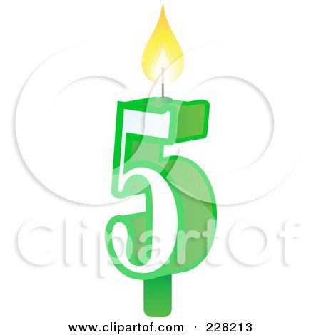 Royalty-Free (RF) Clipart Illustration of a Number 5 Birthday Cake Candle by Tonis Pan
