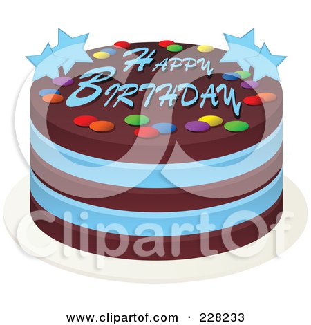 RoyaltyFree RF Clipart Illustration of a Blue And Chocolate Cake