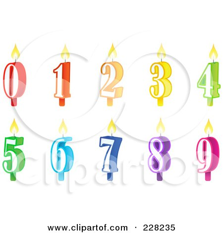 Royalty-Free (RF) Clipart Illustration of a Digital Collage Of Numbered Birthday Cake Candles by Tonis Pan