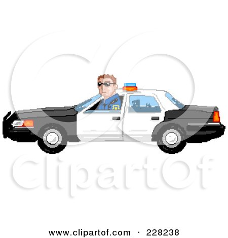 Royalty-Free (RF) Clipart Illustration of a Pixelated Officer Driving A Car by Tonis Pan