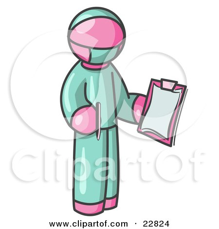 Pink Surgeon Man in Green Scrubs, Holding a Pen and Clipboard Posters, Art Prints