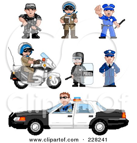 Royalty-Free (RF) Clipart Illustration of a Digital Collage Of Pixelated Officers by Tonis Pan