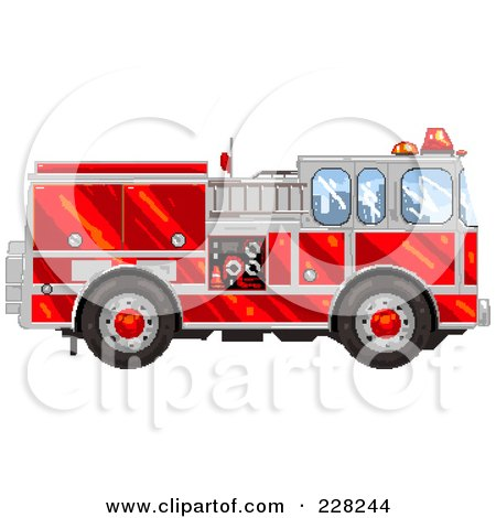 Royalty-Free (RF) Clipart Illustration of a Pixelated Fire Engine by Tonis Pan