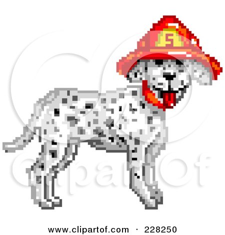 Royalty-Free (RF) Clipart Illustration of a Fire Department Dalmatian Dog Wearing A Helmet by Tonis Pan