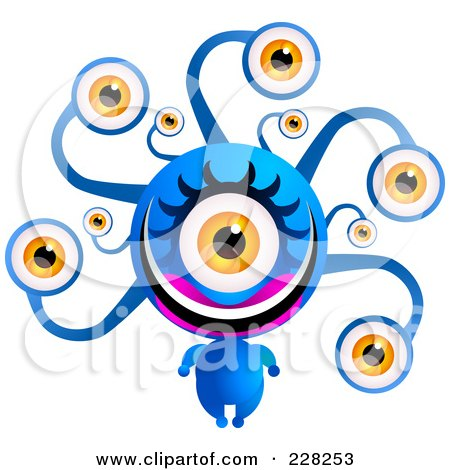 Royalty Free RF Clipart Illustration Of A Blue Alien With A Lot Of Eyes