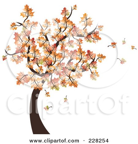 Royalty-Free (RF) Clipart Illustration of an Autumn Tree With Leaves Falling by MilsiArt