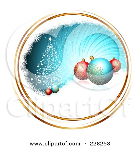 Royalty-Free (RF) Clipart Illustration of a Blue Swirl With Gold Trim, A Tree, Snow And Ornaments by MilsiArt