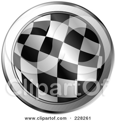 Royalty-Free (RF) Clipart Illustration of a Round Icon Of A Racing Flag With Chrome Trim by MilsiArt