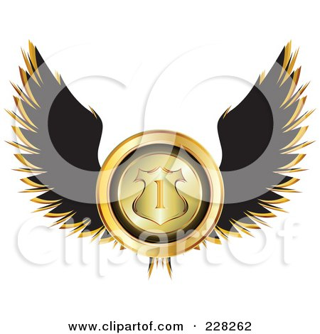 Royalty-Free (RF) Clipart Illustration of a Black Winged Golden Racing Medal by MilsiArt