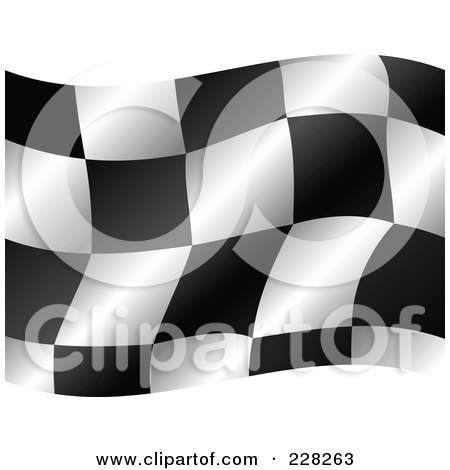 Royalty-Free (RF) Clipart Illustration of a Checkered Auto Racing Flag Waving by MilsiArt