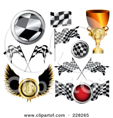 Royalty-Free (RF) Clipart Illustration of a Digital Collage Of Auto Racing Icons by MilsiArt