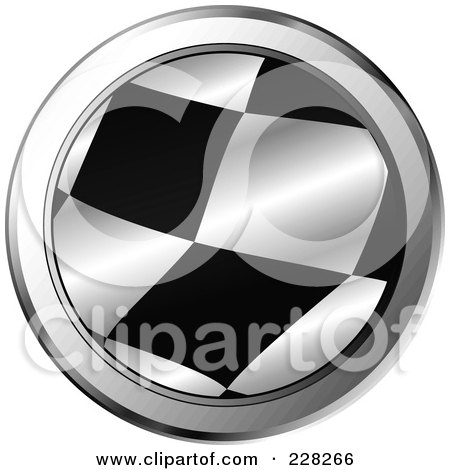 Royalty-Free (RF) Clipart Illustration of a Round Chrome Trimmed Icon Of A Racing Flag by MilsiArt