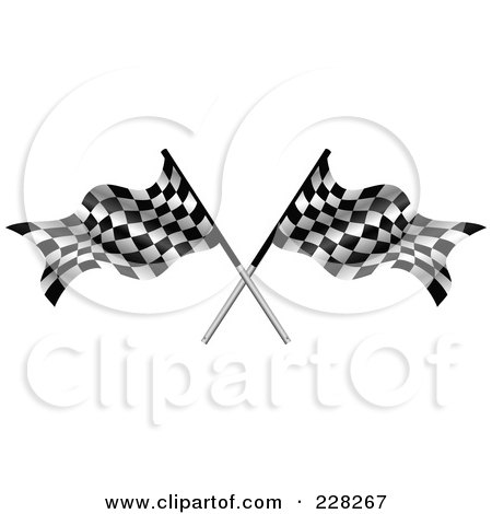 Royalty-Free (RF) Clipart Illustration of Two Crossed Auto Racing Flags by MilsiArt