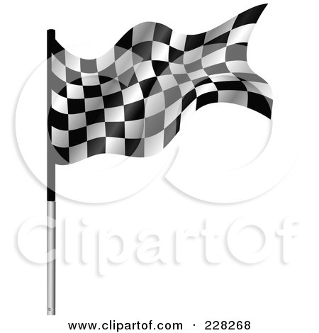 Royalty-Free (RF) Clipart Illustration of a Racing Flag On A Metal Pole by MilsiArt