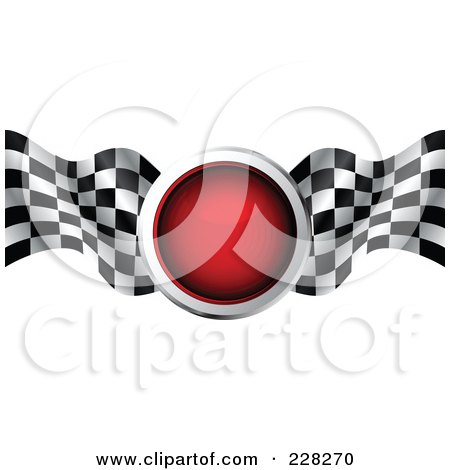 Royalty-Free (RF) Clipart Illustration of a Red Icon With Two Checkered Racing Flags by MilsiArt