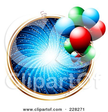 Royalty-Free (RF) Clipart Illustration of a Blue Swirl Birthday Circle With Gold Trim And Party Balloons by MilsiArt
