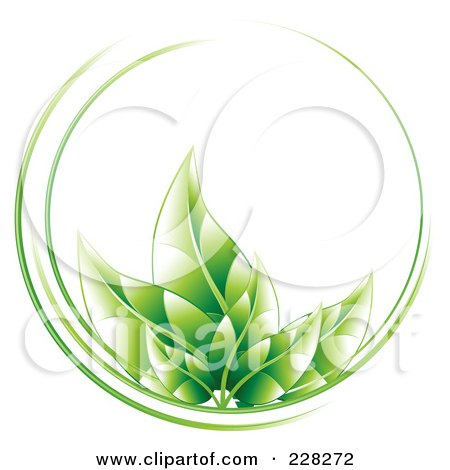 Royalty-Free (RF) Clipart Illustration of a Circle Of Green Leaves And Green Lines by MilsiArt