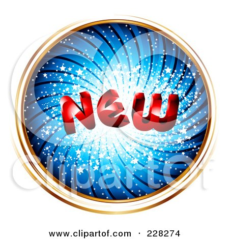 Royalty-Free (RF) Clipart Illustration of a Blue Swirl Circle With Gold Trim And The Word NEW by MilsiArt