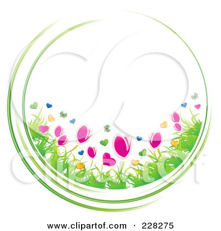 Royalty-Free (RF) Clipart Illustration of a Circle Of Spring Flowers And Green Grasses by MilsiArt