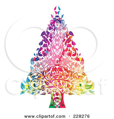 Royalty-Free (RF) Clipart Illustration of a Colorful Christmas Tree Made Of Leaves And Branches by MilsiArt