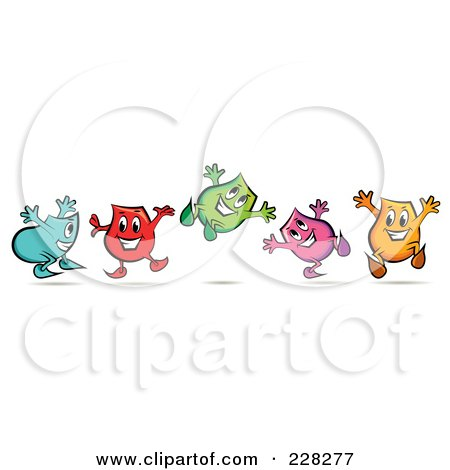 Royalty-Free (RF) Clipart Illustration of a Group Of Colorful Happy Blinky Characters Jumping by MilsiArt