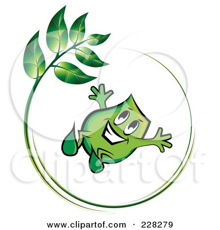 Royalty-Free (RF) Clipart Illustration of a Green Blinky Jumping In A Green Leaf Circle by MilsiArt