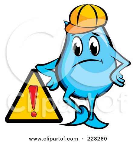 Royalty-Free (RF) Clipart Illustration of a Blue Construction Blinky Leaning On A Sign by MilsiArt