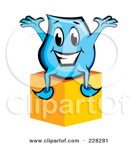 Royalty-Free (RF) Clipart Illustration of a Blue Blinky Sitting On A Box by MilsiArt