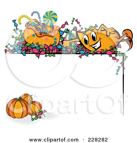 Royalty-Free (RF) Clipart Illustration of an Orange Blinky With Halloween Candy Over A Corner Border With Pumpkins by MilsiArt