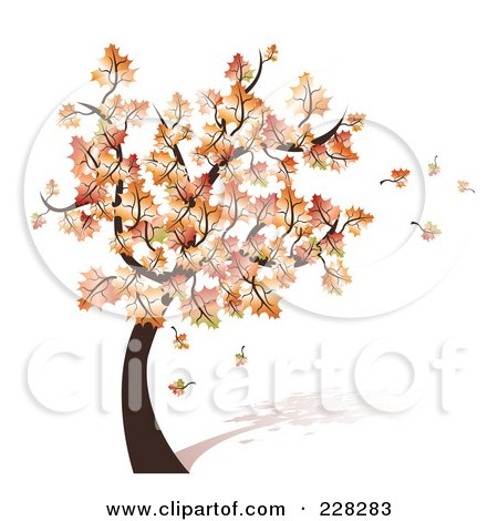 Royalty-Free (RF) Clipart Illustration of a Tree With Fall Foliage And Leaves Blowing Off In The Breeze by MilsiArt