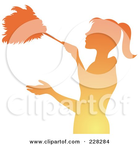 Royalty-Free (RF) Clipart Illustration of a Gradient Orange Silhouetted Maid Dusting With A Feather Duster by Pams Clipart