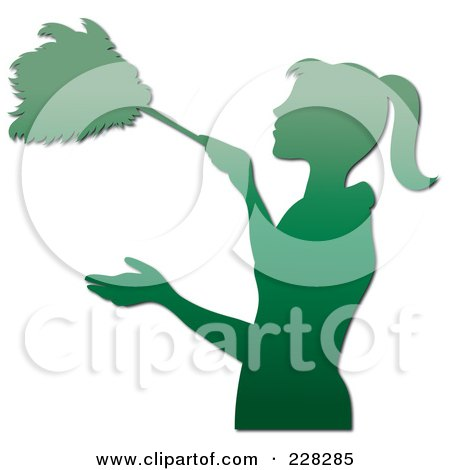 Royalty-Free (RF) Clipart Illustration of a Gradient Green Silhouetted Maid Dusting With A Feather Duster by Pams Clipart