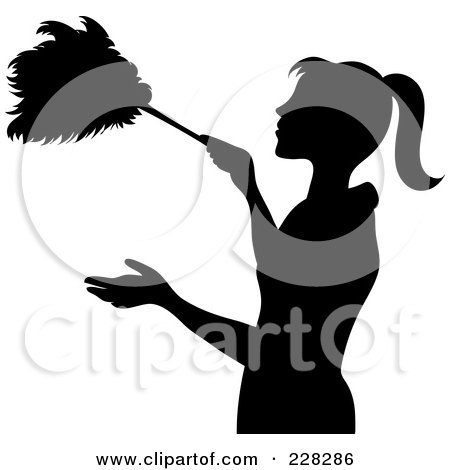 Black Silhouetted Maid Dusting With A Feather Duster Posters, Art Prints