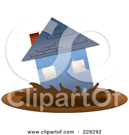 Royalty-Free (RF) Clipart Illustration of a Blue House Sinking Into Mud by Pams Clipart
