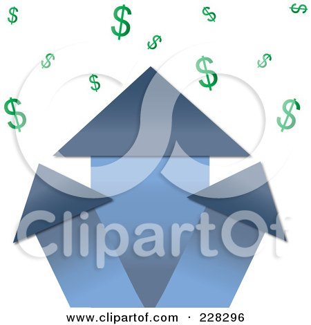Royalty-Free (RF) Clipart Illustration of a Blue Real Estate Profit Graph Of Roof Top Arrows And Dollar Signs by Pams Clipart