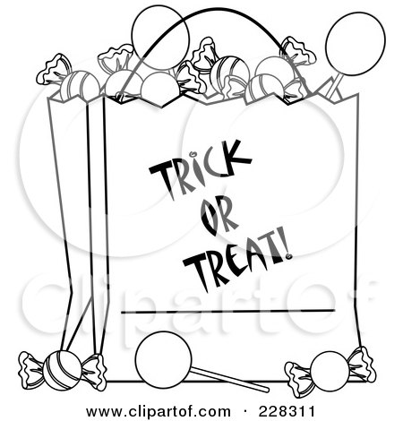 Royalty-Free (RF) Clipart Illustration of a Coloring Page Outline Of A Trick Or Treat Bag Full Of Halloween Candy by Pams Clipart