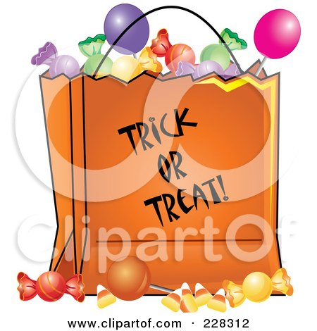 Royalty-Free (RF) Clipart Illustration of an Orange Trick Or Treat Bag Full Of Halloween Candy by Pams Clipart
