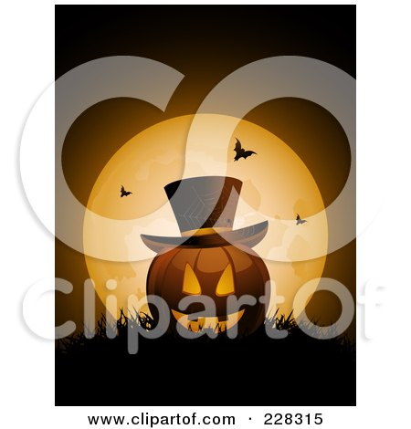 Royalty-Free (RF) Clipart Illustration of a Halloween Jackolantern Wearing A Top Hat, Resting In Grass Against A Full Moon With Bats by elaineitalia
