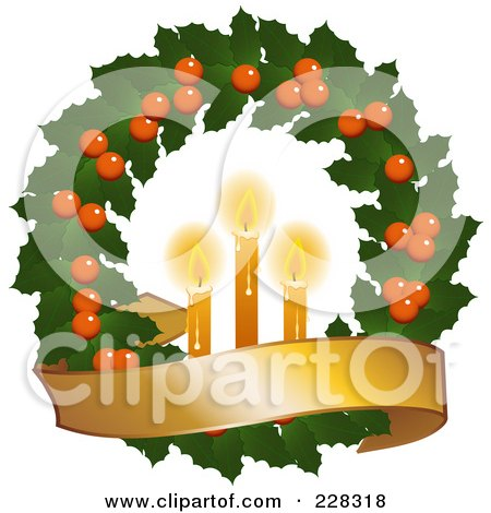 Royalty-Free (RF) Clipart Illustration of a Holly Christmas Wreath With Lit Candles And A Golden Banner by elaineitalia